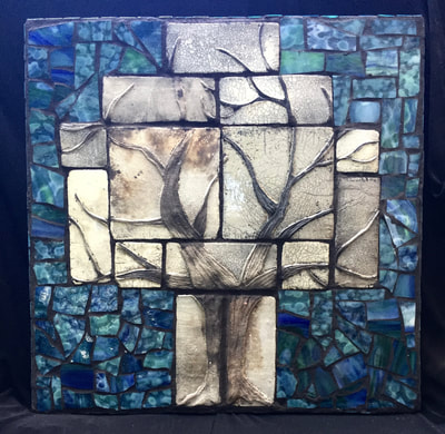 Clay and glass mosaic